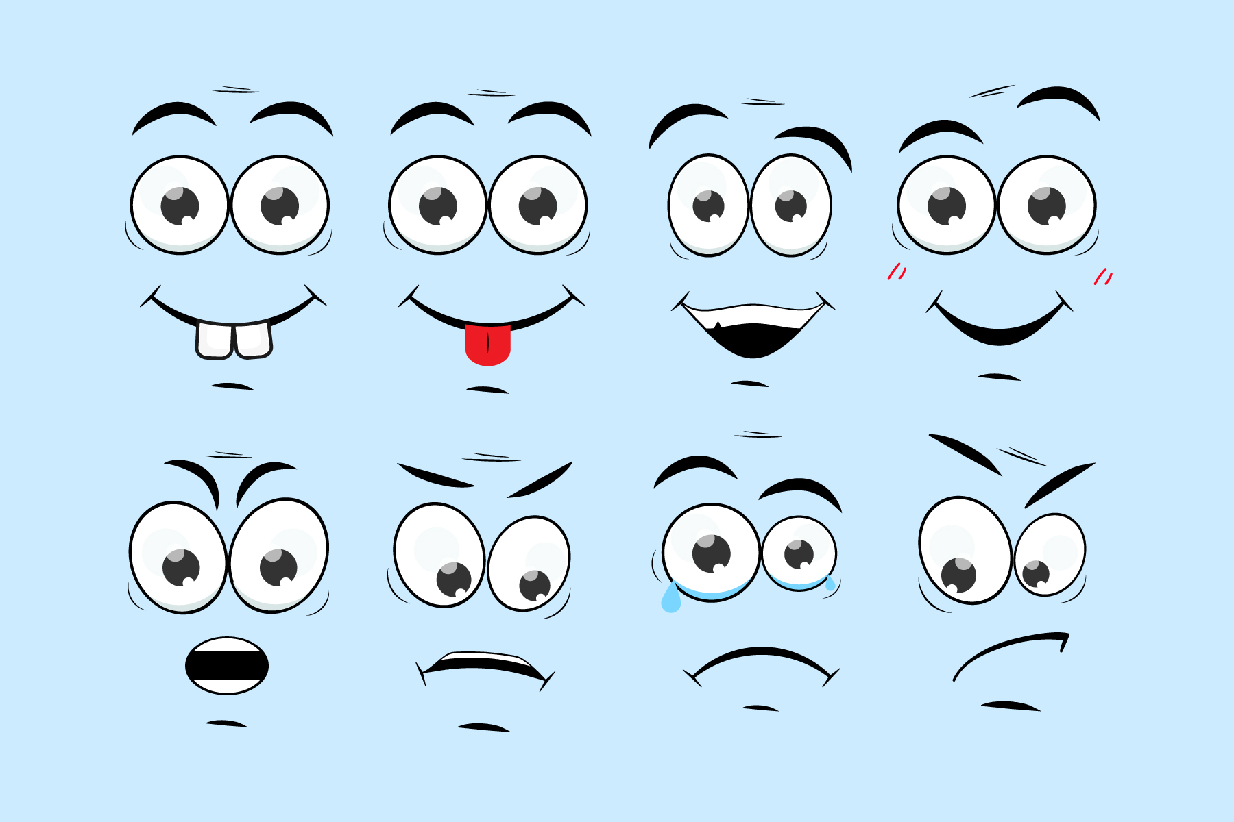 Download Free Sartoon Comic Faces Smile Face Mood Graphic By Gee 00 for Cricut Explore, Silhouette and other cutting machines.