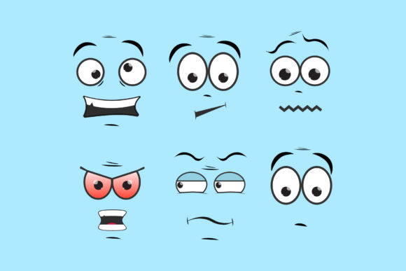 Сartoon Comic Faces. Smile Face Mood Graphic Objects By gee-00