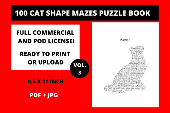 Download Free 100 Cat Shape Mazes Puzzle Book Vol 3 Graphic By Fleur De Tango for Cricut Explore, Silhouette and other cutting machines.