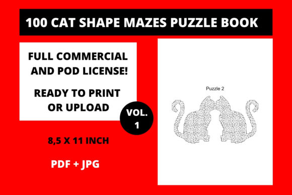 Print on Demand: 100 Cat Shape Mazes Puzzle Book Vol 1 Graphic KDP Interiors By Fleur de Tango
