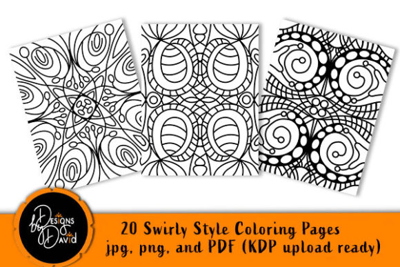 Print on Demand: 20 Swirly Style Coloring Pages KDP Ready Graphic Coloring Pages & Books Adults By Designs By David