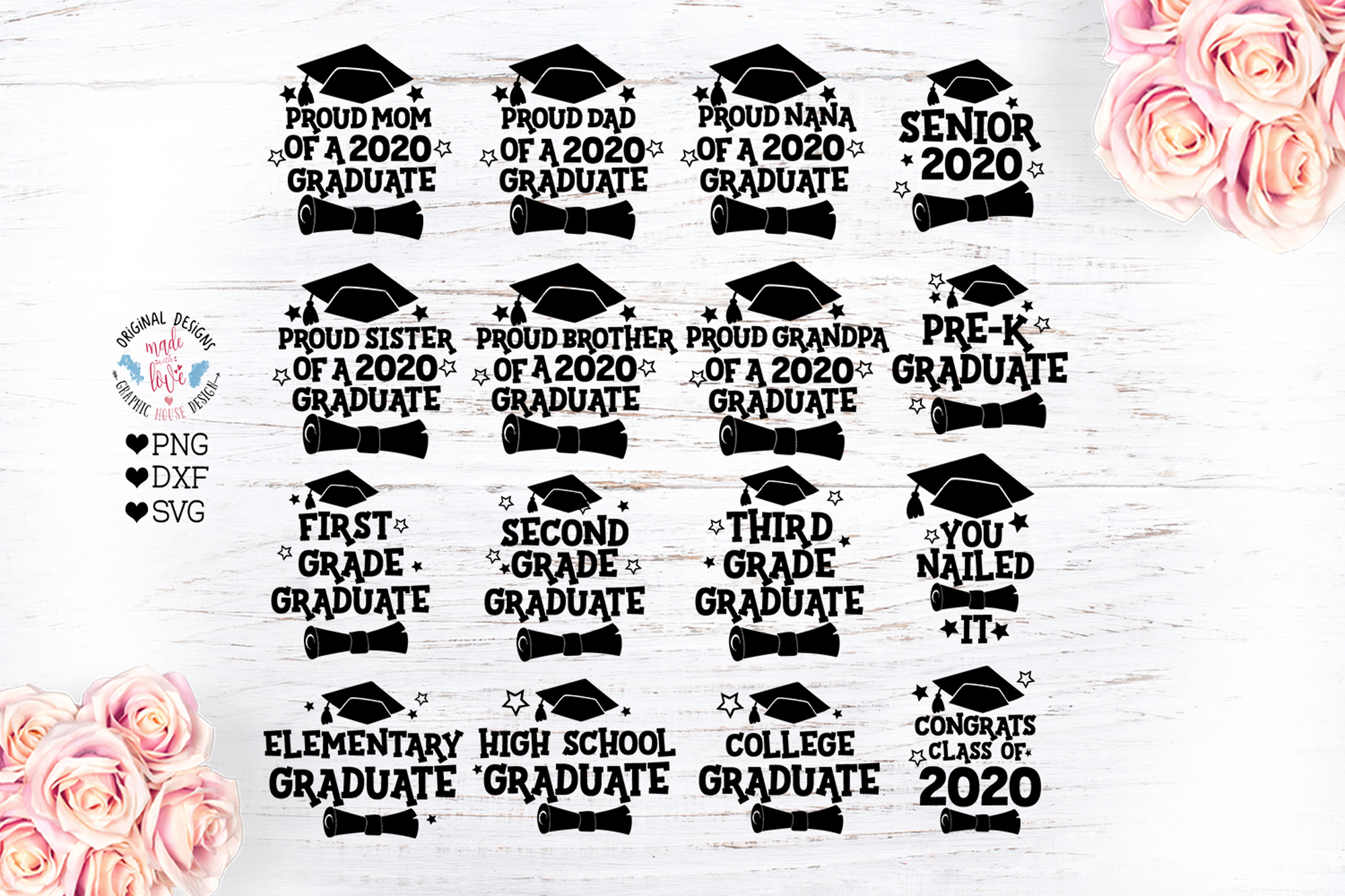 Download Free 2020 Graduation Bundle Graphic By Graphichousedesign Creative for Cricut Explore, Silhouette and other cutting machines.