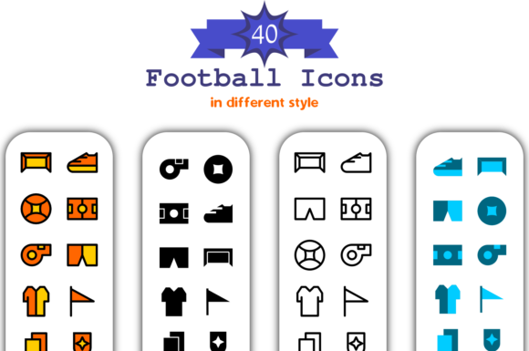40 Football Icon in Different Style Graphic Icons By Asyan Design