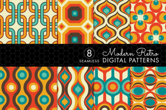 8 Modern Retro Patterns Brown Orange Graphic By Eyestigmatic