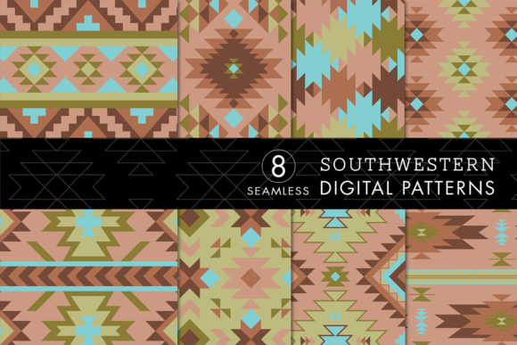 Print on Demand: 8 Southwest Patterns-Turquoise, Green Graphic Patterns By Eyestigmatic Design