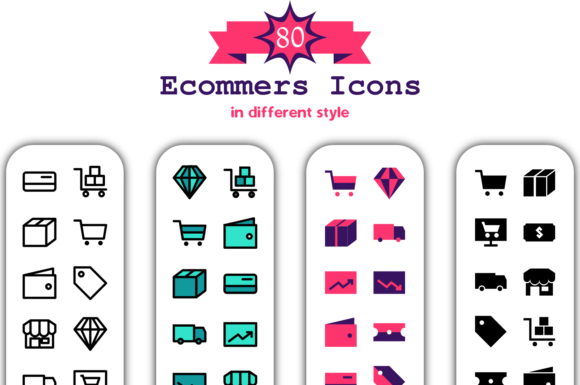 80 E-commerce Icon in Different Style Graphic Icons By Asyan Design