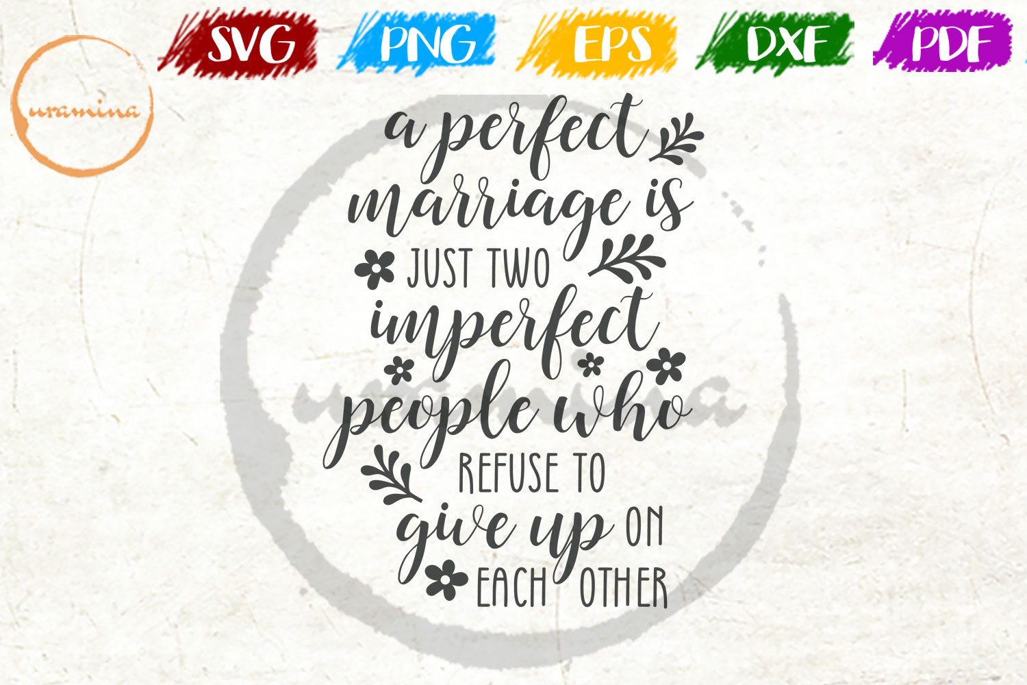 Download Free A Perfect Marriage Just Two Imperfect Graphic By Uramina for Cricut Explore, Silhouette and other cutting machines.
