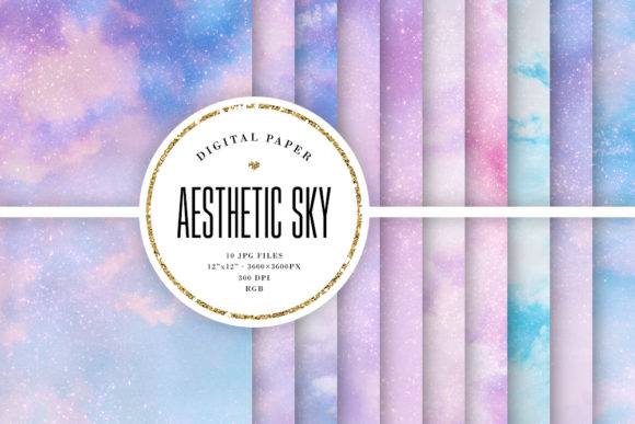 Print on Demand: Aesthetic Sky Backgrounds - Noisy Papers Graphic Backgrounds By Sabina Leja