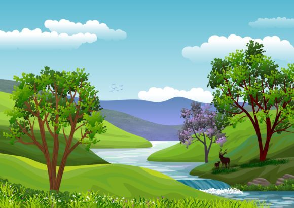 Background with Natural Landscape Graphic Backgrounds By americodealmeida