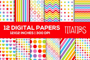 Bright Rainbow Digital Papers Set Graphic Patterns By TitaTips