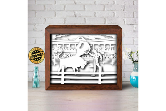 Bull Fight 1 3d Paper Cutting Light Box Graphic By