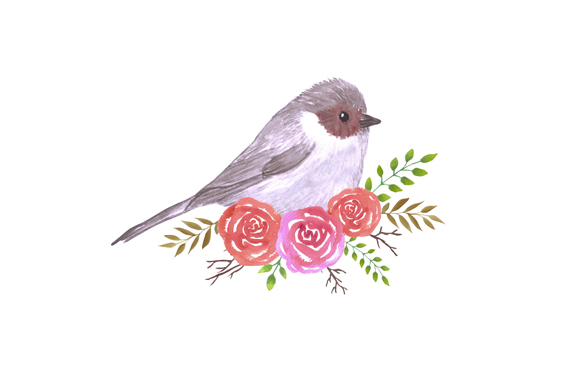 Download Free Bushtit And Perennial Roses Graphic By Shawlin Creative Fabrica for Cricut Explore, Silhouette and other cutting machines.