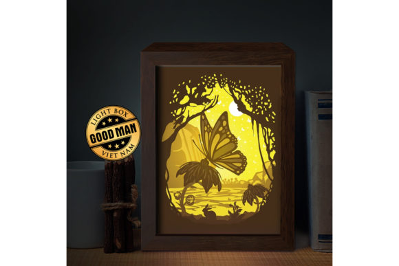 Butterfly 1 3D Paper Cutting Light Box Graphic 3D Shadow Box By LightBoxGoodMan - Image 1