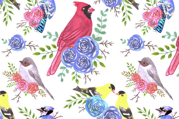 Download Free Cardinals Bushtits Blue Jays Graphic By Shawlin Creative Fabrica for Cricut Explore, Silhouette and other cutting machines.