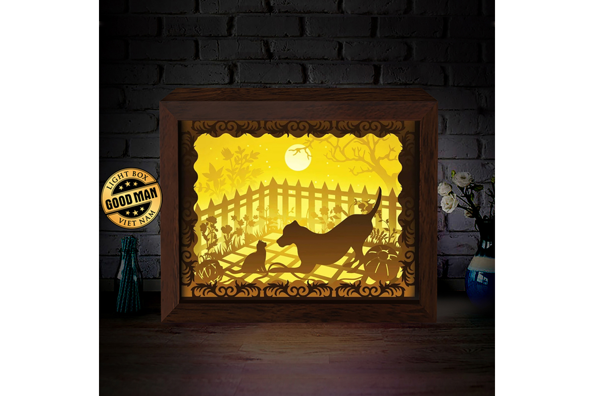 Download Free Cat And Dog 1 3d Paper Cutting Light Box Graphic By for Cricut Explore, Silhouette and other cutting machines.