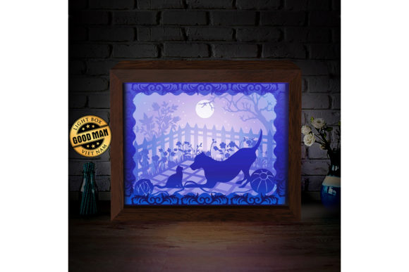 Cat and Dog 1 3D Paper Cutting Light Box Graphic 3D Shadow Box By LightBoxGoodMan - Image 2