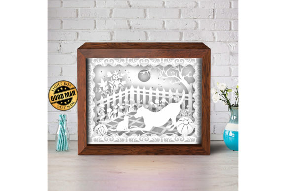 Cat and Dog 1 3D Paper Cutting Light Box Graphic 3D Shadow Box By LightBoxGoodMan - Image 3