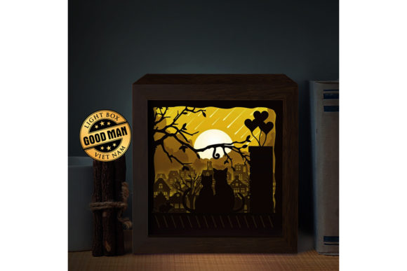 Cat and Moon 3D Paper Cutting Light Box Graphic