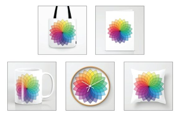Color Wheel Flower Clipart Graphic Download