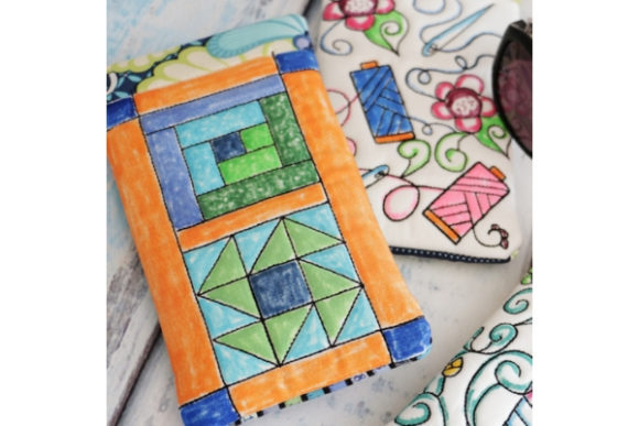 Coloring Book Eye Glass Case in the Hoop - Quilt Block Accessories Embroidery Design By Sookie Sews