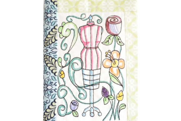 Coloring Book Notebook Cover in the Hoop - Dress Form Back to School Embroidery Design By Sookie Sews