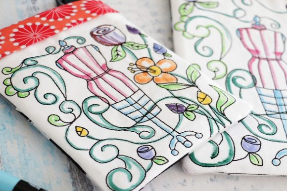 Coloring Book Zipper Bag in the Hoop - Dress Form Accessories Embroidery Design By Sue O'Very Designs