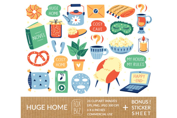 Print on Demand: Cozy Home Clipart, Stickers. Huge, Stay Graphic Illustrations By FoxBiz