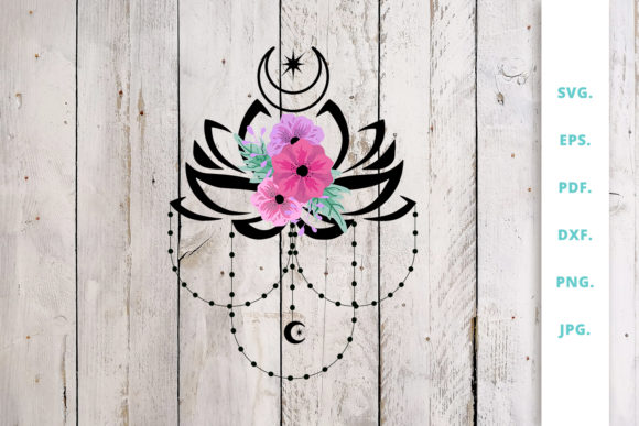 Print on Demand: Crescent Moon with Lotus Flower Graphic Crafts By Sintegra