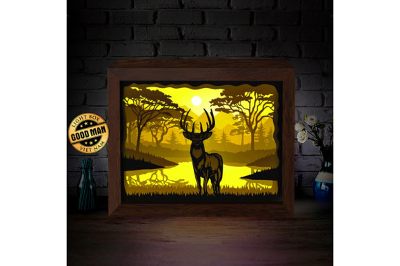 Print on Demand: Deer 3 3D Paper Cutting Light Box Graphic 3D Shadow Box By LightBoxGoodMan