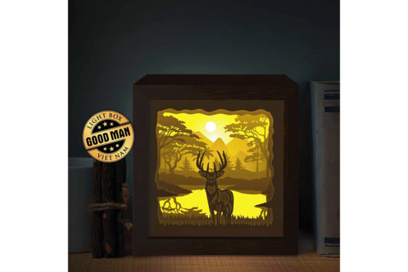 Deer 3 Square 3D Paper Cutting Light Box Graphic 3D Shadow Box By LightBoxGoodMan
