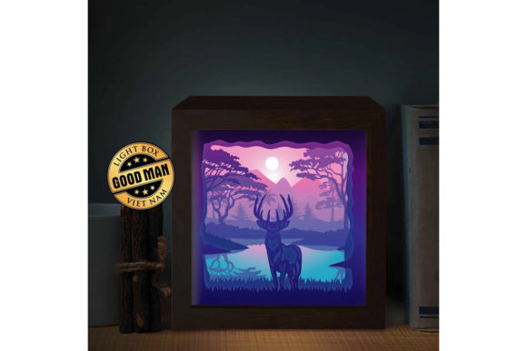 Deer 3 Square 3d Paper Cutting Light Box Graphic By Lightboxgoodman Creative Fabrica