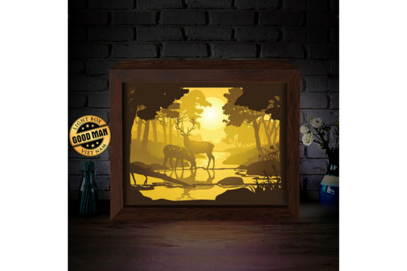 Deer 4 3D Paper Cutting Light Box Graphic 3D Shadow Box By LightBoxGoodMan
