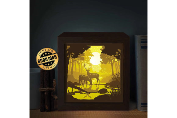 Deer 4 Square 3D Paper Cutting Light Box Graphic 3D Shadow Box By LightBoxGoodMan