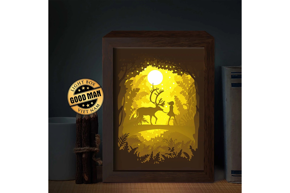 Download Free Deer 7 3d Paper Cutting Light Box Graphic By Lightboxgoodman for Cricut Explore, Silhouette and other cutting machines.
