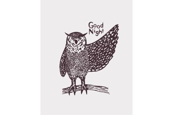 Download Free Detail Hand Drawn Owl Good Night Graphic By Firdausm601 for Cricut Explore, Silhouette and other cutting machines.