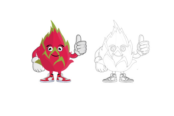 Download Free Dragon Fruit Cartoon Character Graphic By Printablesplazza for Cricut Explore, Silhouette and other cutting machines.