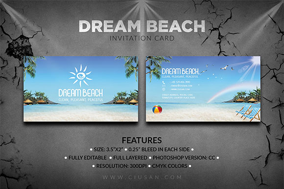 Download Free Dream Beach Invitations Card Graphic By Ciusan Creative Fabrica for Cricut Explore, Silhouette and other cutting machines.