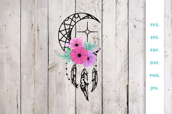 Download Free Dream Catcher Moon Graphic By Sintegra Creative Fabrica for Cricut Explore, Silhouette and other cutting machines.