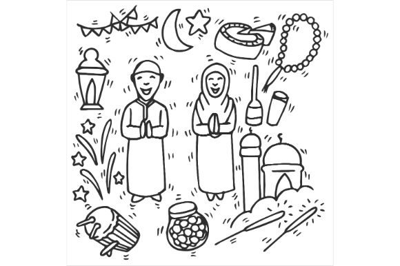 Download Free Eid Mubarak Drawing Art Graphic By Firdausm601 Creative Fabrica for Cricut Explore, Silhouette and other cutting machines.
