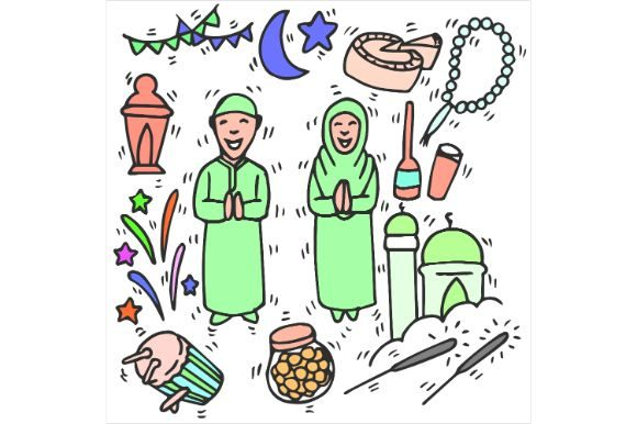 Print on Demand: Eid Mubarak Drawing, Art, Sketch Color Graphic Icons By firdausm601
