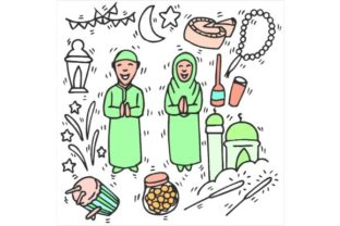 Download Free Eid Mubarak Drawing Art Sketch Mix Graphic By Firdausm601 for Cricut Explore, Silhouette and other cutting machines.