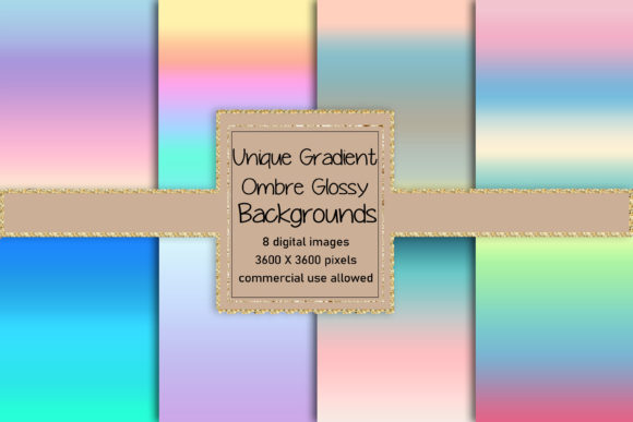Eight Unique Gradient Ombre Backgrounds Graphic