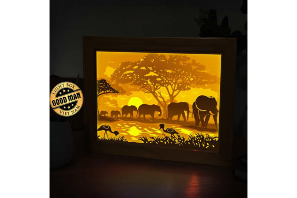 Elephant 1 3D Paper Cutting Light Box Graphic 3D Shadow Box By LightBoxGoodMan