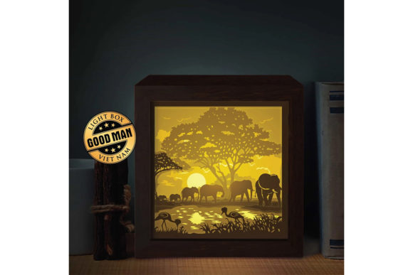 Elephant 1 Square  3D Paper Light Box Graphic 3D Shadow Box By LightBoxGoodMan