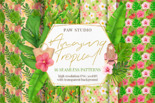 Print on Demand: Exotic Tropical Seamless Patterns Summer Graphic Patterns By PawStudio