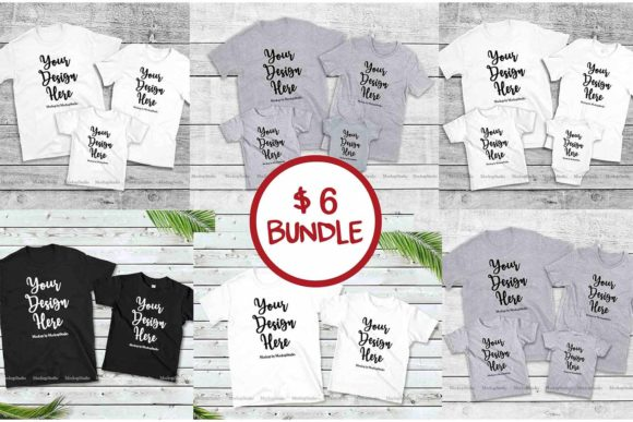 Print on Demand: Family Tshirt Mockup Bundle, Mommy & Me Graphic Product Mockups By Mockup Station