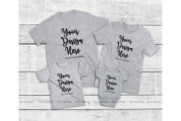 Print on Demand: Family Tshirt Mockup Bundle, Mommy & Me Graphic Product Mockups By Mockup Station - Image 3