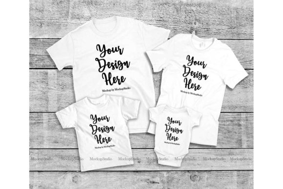 Print on Demand: Family Tshirt Mockup Bundle, Mommy & Me Graphic Product Mockups By Mockup Station - Image 4