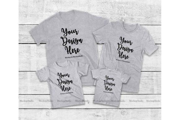 Print on Demand: Family Tshirt Mockup Bundle, Mommy & Me Graphic Product Mockups By Mockup Station - Image 5