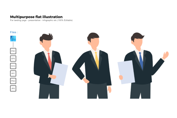 Download Free Flat Illustration Business Man Pose Graphic By Rivatxfz for Cricut Explore, Silhouette and other cutting machines.